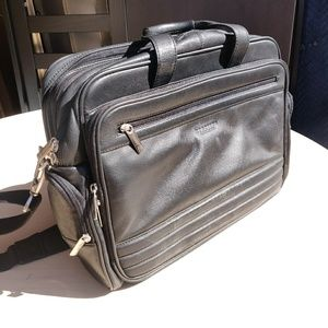 Black Columbian Leather Kenneth Cole Laptop Bag